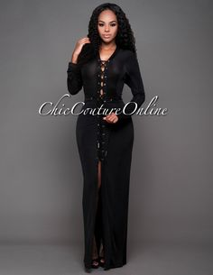 Chic Couture Online - Dominica Black Lace-Up Front Maxi…