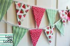 Summer Watermelon Bunting Banner by LooDeLoop on Etsy, $28.00