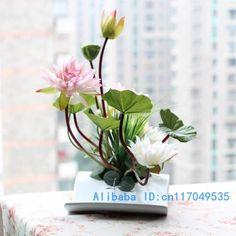 flower arrangement ikebana arranged artificial lotus flower silk flower include…