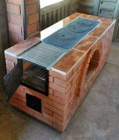 Backyard Kitchen, Outdoor Kitchen Design, Backyard Patio, Outdoor Stove, Pizza Oven Outdoor, Diy Wood Stove, Brick Bbq, Grill Design, Diy Outdoor Furniture