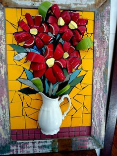 Five flowers in a vase mosaic