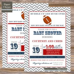 Boys baby shower invitation,football, red & navy, typography - digital file, printed
