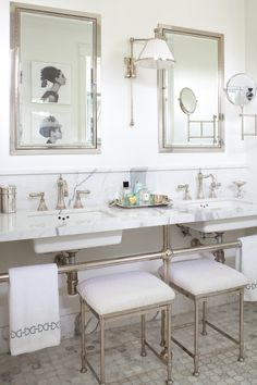Elegant white bathroom space: http://www.stylemepretty.com/living/2016/04/19/all-white-bathrooms-thatll-make-you-want-to-renovate-yours/