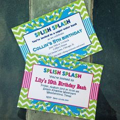 Splish Splash Invitation Printable  - With Pink or Without - Pool Party, Water Slide, ANY Water Fun by ThatPartyChick on Etsy https://www.etsy.com/listing/155860162/splish-splash-invitation-printable-with