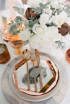White and Copper Wedding Table Setting - Photo by Singler Photography. Copper Wedding Inspiration for Jenny Buckland Hair and Make Up Winter Wedding Decorations, Reception Decorations, Event Decor, Wedding Centerpieces, Masquerade Centerpieces, Winter Weddings, Gold Decorations, Floral Centerpieces, Wedding Designs