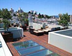 Roof deck w/ skylight