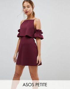 ASOS PETITE Crop Top Ruffle Sleeve Mini Dress