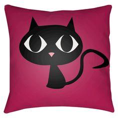 Little Black Cat Throw Pillow -