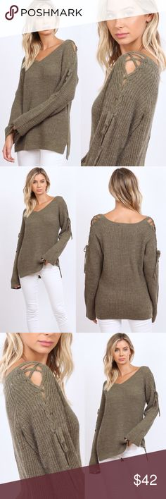 4ced839902 NEW Olive Loose Lace Up Sweater Olive knitted lace up shoulder sweater.  Pairs best with
