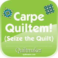 Carpe Quiltem. Free Quilty Quote from Quiltmaker.com