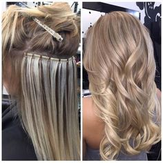 Beaded weft during ---> after Extensions by by bombshellexte. Beaded weft during Hair Extensions Tutorial, Hair Extensions Before And After, Hair Extensions For Short Hair, Tape In Hair Extensions, Luxy Hair, Hair Affair, Hair Beads, Hair Weft, Hair Dos