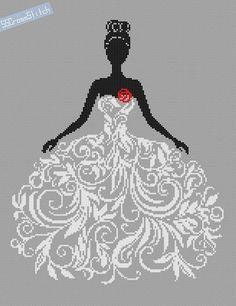 Compté mariée modèle point de croix dans le résumé de la robe de mariée