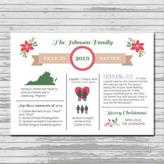 Like the info graphic layout Family Christmas Cards, Homemade Christmas Cards, Merry Christmas To All, Christmas Colors, Christmas Photos, Christmas Holidays, Christmas Crafts, Christmas Decorations, Christmas Newsletter