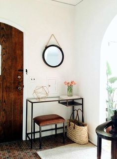 Entryway inspiration <3 LOVE that wood door too! Entry Hall, Home Office, Ikea Hall, Ikea Vittsjo, Ikea Desk, Entryway Decor, Entryway Bench, Apartment Therapy, Apartment Living