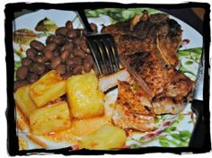 Ancho Chili quick fry pork chops, pineapples and beans, gluten-free