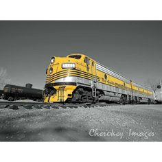 Yellow Rio Grande Railroad Train Engine Focal Black and White ($25) ❤ liked on Polyvore featuring home, home decor, wall art, railroad poster, black and white posters, photography posters, black and white picture and black white wall art