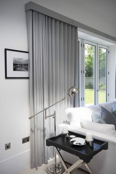 Curtains on Wave Tracks.,Ripple fold curtains on tracks over bifold doors Curtain monitor or curtain pole? The most common types of fastening for curtains are rods and rails. Curtains For Bifold Doors, Curtains Uk, Ceiling Curtains, Luxury Curtains, Curtains Living, Curtains With Blinds, Wood Blinds, S Wave Curtains, Tall Curtains