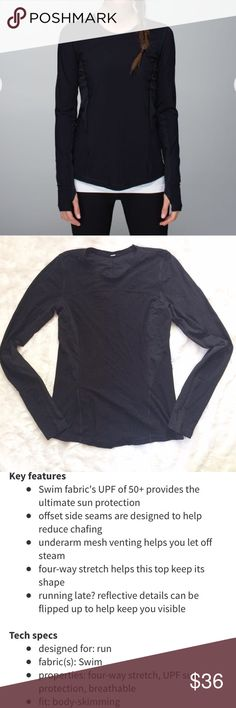 "Lululemon Runbeam Long Sleeve In good used condition. 16"" pit to pit. About 25"" shoulder to hem, but the hem is curved, so it varies. Make me an offer. Discount on bundles of two or more. lululemon athletica Tops Tees - Long Sleeve"