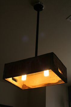 DIY Crate Hanging Light