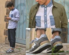 """Carhartt Worker Jacket, Norse Projects Chambray/Oxford Mixed Shirt, New Balance Nb 576 """"25th Anniversary"""" Sneakers, A.P.C. Selvedge Denim"""