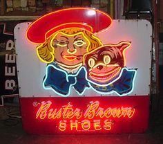 Buster Brown shoes - good shoes; not fashionable, but lasted forever and good for one's feet.