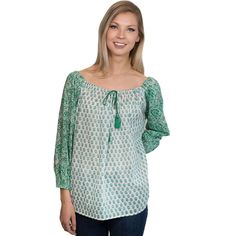 Printed Cotton Peasant Top (Emerald)