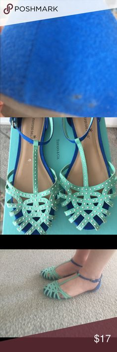 Montego Bay Club Turquoise/Blue Sandals 8 Montego Bay Club turquoise royal blue faux/fake suede sandals with tiny silver studs. Size 8, Two small flaws shown in pictures, two tiny black marks on right heel and on inside sole spot peel on right shoe, doesn't show when wearing, smaller than a dime. Montego Bay Club Shoes Sandals