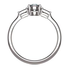 4 prongs Side Stones Ring #8285