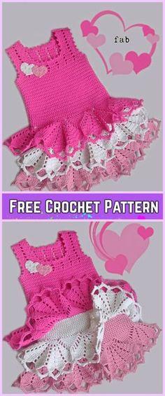 Crochet Girl Ruffle Dress Free Patterns-Crochet Little Girls Valentine dress Fre. Crochet Girls Dress Pattern, Crochet Toddler Dress, Toddler Dress Patterns, Crochet Ruffle, Crochet Baby Clothes, Crochet For Kids, Baby Patterns, Free Crochet, Crochet Art