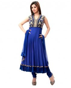 "$158  Feel like a style icon in this star look which is made specially for you . Yoke looks just awesome with zari thread and sequins work. Halter neckline with v-shape is perfect for you.    Color-Navy blue  Material-Net and velvet  Work-Zari thread with pita and Sali  Kurta-Color-Navy Blue ; Material-Velvet and net  Dupatta-Color-Navy Blue ; Material-Net  Churidar-Color-Navy Blue ; Material-silk  Length of Top-48""  Slight variation in color is possible"