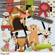Dogs Life Scrapbook Kit - Puppy scrap kit - Animals  -  Instant Download - Digital