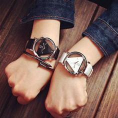 SHARE & Get it FREE | JIS Transparent Dial Triangle Pattern Quartz Watch for…