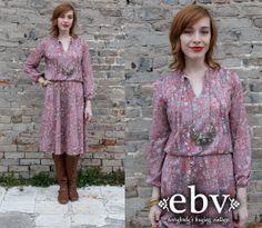 #Vintage #80s #Floral #Draped #Midi #Dress S M L by shopEBV on Etsy, $40.00