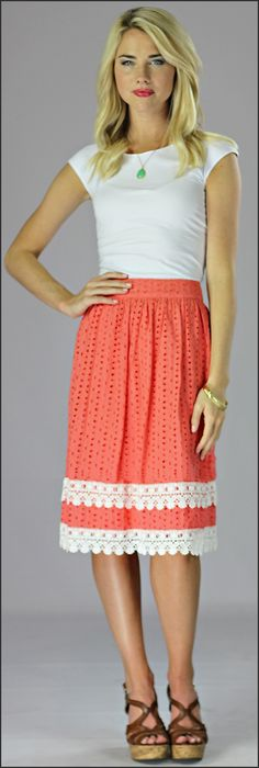 Cotton Eyelet Skirt *CLEARANCE* [MS2011B] - $24.99 : Mikarose Boutique, Reinventing Modesty