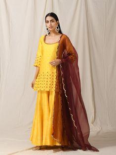 Indian Fashion Designers, Sharara, Wedding Wear, Indian Wear, Ready To Wear, Sunshine, Hand Embroidery, Sari, Contrast