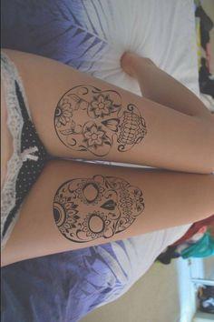 Sugar Skull Leg Tattoos