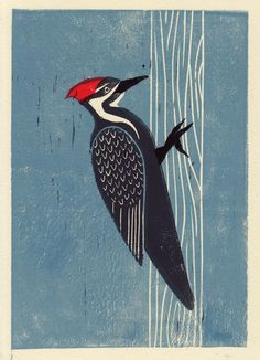 Pileated Woodpecker handpulled linocut art print. $32.00, via Etsy.