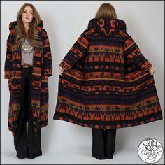 vintage 80s HOODED wool SOUTHWEST Blanket Coat navajo graphic print maxi boho