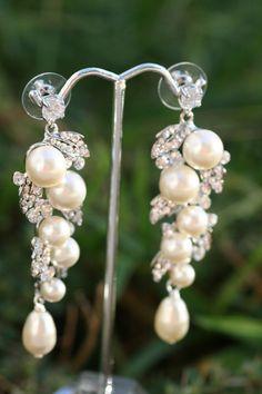 Pearl Earrings Wedding Jewelry Bridal Earrings by simplychic93