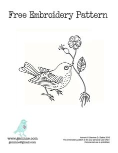 Pretty bird embroidery pattern