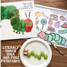 Literacy Snack Idea Caterpillar + Free Printable