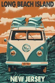 Long Beach Island, New Jersey - VW Van - Lantern Press Poster (own 5x7)