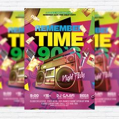 Remember Time 90's - Premium Flyer Template + Facebook Cover http://exclusiveflyer.net/product/remember-time-90s-premium-flyer-template-facebook-cover/