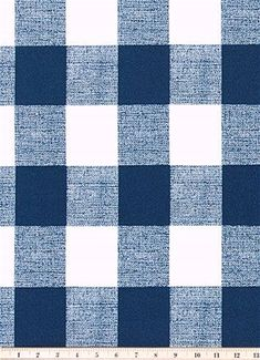 Country Blue and White Buffalo Check Cabin Farmhouse Navy Blue Fabric by the Yard Designer Cotton Curtain, Drapery or Upholstery Fabric