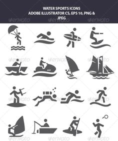 Buy Water Sports Icons by mfaisb on GraphicRiver. Water Sports Icons editable in Adobe Illustrator Cs The two main files are editable in Adobe Illustrator first is EPS. Vector Icons, Vector Free, Vector Illustrations, Summer Icon, Sport Icon, Illustrator Cs, Portrait Illustration, Pictogram, Water Sports
