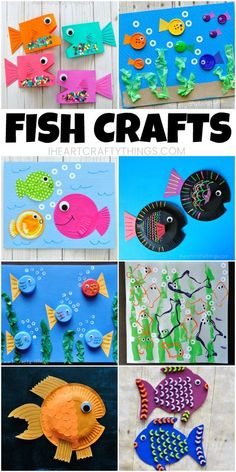 Here are 10 fun fish crafts for kids that are simple to make are colorful and work great any time of the year especially for summer kid crafts. Find paper fish crafts paper plate fish crafts and mixed media fish art projects for kids to enjoy. Paper Plate Fish, Paper Fish, Paper Plate Crafts, Paper Paper, Easy Art Projects, Arts And Crafts Projects, Projects For Kids, Summer Crafts For Kids, Crafts For Kids To Make