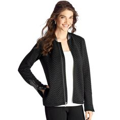 Rock the quilted trend with this on-trend jacket. Leatherlike mandarin collar. Zipper details at sleeve openings, with leatherlike trim. Polyester/spandex. Machine wash and dry. Imported.