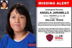 ANGELA JARAMILLO, Age Now: 22, Missing: 01/23/2010. Missing From DALLAS, TX. ANYONE HAVING INFORMATION SHOULD CONTACT: Dallas Police Department (Texas) 1-214-671-4268.