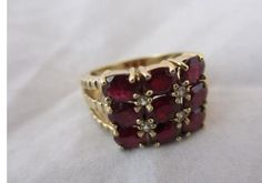 Vintage 1980's 9ct Yellow Gold, Ruby and Diamond Ring.