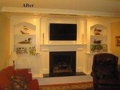 Amazing fireplace makeover with home trimwork
